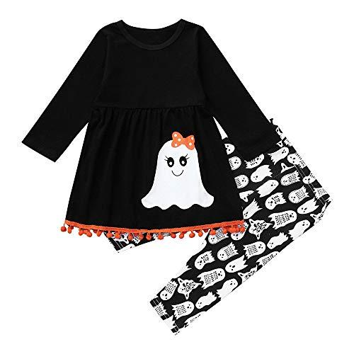jin&Co Toddler Baby Kids Girls Halloween Long Sleeve Tassel Ghost Costume Tops + Pants Outfits Set Black