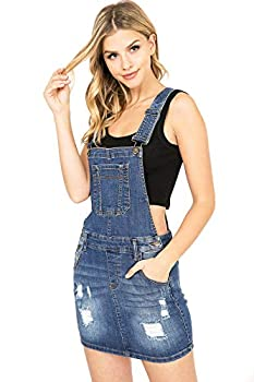 Wax Jeans Women s Juniors Cute Stretchy Denim Overall Dress  L Med Denim