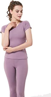 Perfect Home Women Fashion Compression Low Colloar Quick-Dry Short Sleeve Runing T-Shirt Fashion (Color : Purple, Size : XL)