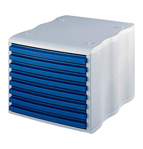 styro® wave Boxen-System, stabil, stapelbar, 8 Schübe mit Griffleiste, grau/blau