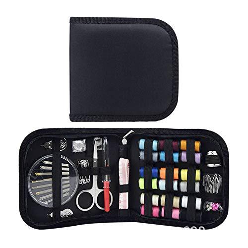 Kit de costura,caja de costura de 72 piezas con accesorios de kit de costura básico,mini herramienta de costura para viajero con caja portátil con cremallera,llena de tijeras,reparación,agujas,dedal