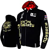 VSZAP Lotus Fitness Sudadera MMA MUAY THAI Chaqueta de lucha Top Muay Thai Lucha Correr Artes Marciales, Krav Maga, BJJ, K1, Karate Thin-S