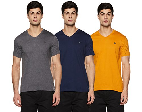 Amazon Brand - Symbol Men's Solid Regular Fit Half Sleeve Cotton T-Shirt (Combo Pack of 3) (AW17PLPO3V2_M_Multicolor2)