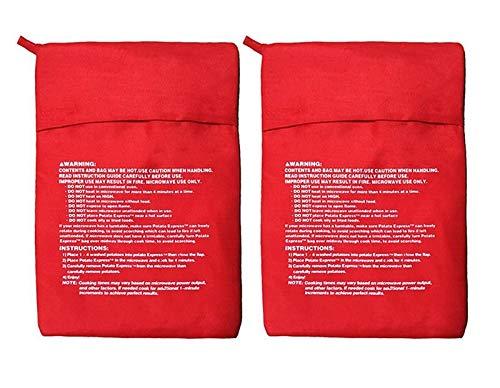 momoland Satz 2 Mikrowellen - Kartoffel - Herd -Ttasche - Kartoffel - Beutel, Perfekte Kartoffeln Nur in 4-6 Minuten - Rot