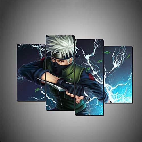 Aehoor Novel Bilder Art 4 Teile Naruto Leinwand Wandkunst Bild HD Anime Druck Deko Zuhause Dekorationen Bar Vlies Wall Wandbilder Wohnzimmer Kunstdrucke Poster Modern 40x80x2/40x100x2 Frameless
