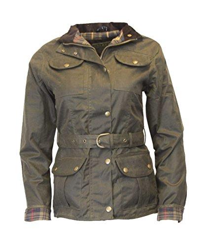 Walker and Hawkes Damen Jacke gewachst - Gürtel & 4 Taschen - Olivgrün - Größe EU 42 (UK 14)