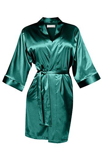 VA-Fashion Bata de mujer para dama de honor, dama de honor, novia, boda, satén corto Malaquita. XL