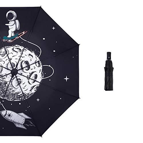 Automatischer Regenschirm, Cartoon-Weltraum-Druck, Vinyl-Schirme für Damen, dreilagiger Sonnenschirm, tragbarer transparenter Regenschirm – Handbuch (evtl. nicht in deutscher Sprache).