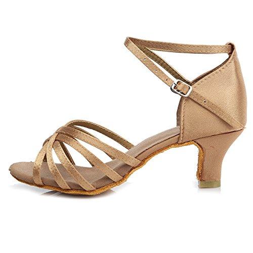 HROYL Damen Tanzschuhe/Latin Dance Schuhe Satin Ballsaal Modell-D5-213 Beige 38.5 EU