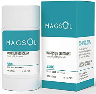 MAGSOL Magnesium Deodorant for Women and Men - 100% Natural Deodorant - Clean Label Only 4 Ingredients - Perfect for Ultra Sensitive Skin - Large 3.2 oz Lasts over 4 Months (Jasmine)