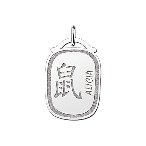 Namesforever hanger Chinese sterrenbeeld ratte van zilver met naam gravure