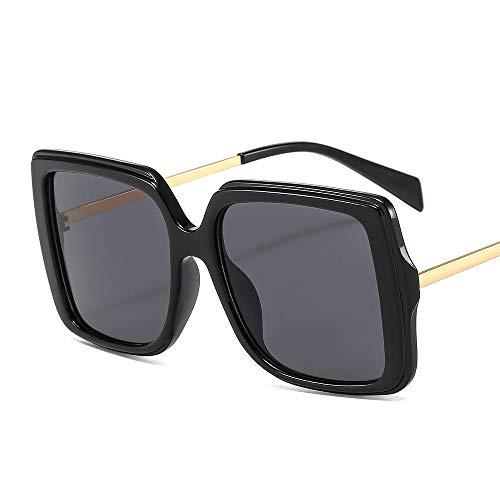Powzz ornament Gafas de sol cuadradas de gran tamaño para mujer, gafas de sol con gradiente Retro a la moda para hombre, gafas con montura grande azul, gafas Vintage UV400-1_Universal