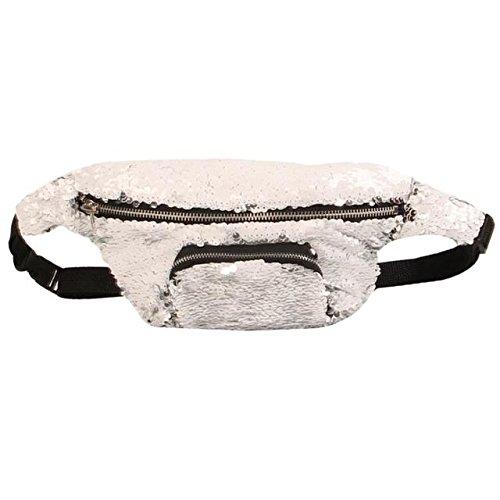ABBY Mme mode paquet poches de paillettes sac de ceinture sac multifonction sac de stockage de maquillage/argent