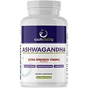 Organic Ashwagandha High Strength 1950mg Root Powder - 120 Vegan Capsules - Ashwaganda Supplement Organic - Black Pepper Extract (Piperine) for Maximum Absorption – Immune System Boost…