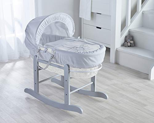 Kinder Valley White Teddy Wash Day White Wicker Moses Basket with Deluxe Grey Rocking Stand, Mattress & Padded Liner
