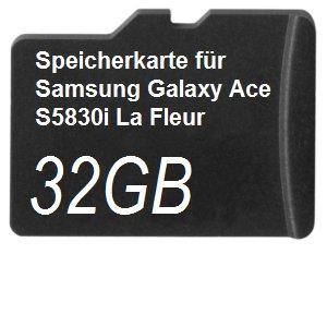 32GB Speicherkarte für Samsung Galaxy Ace S5830i La Fleur