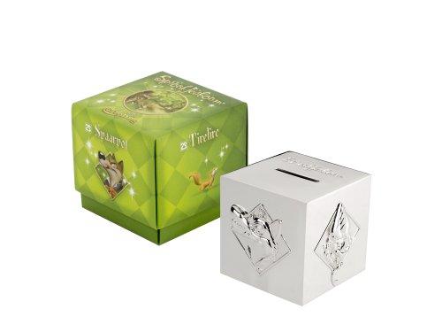 Spaarpot sprookjeskubus jongens verzilverd aanslagvrij 7,5 x 7,5 x 7,5 cm