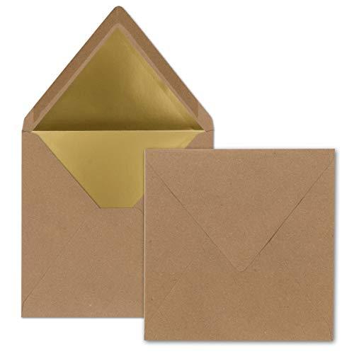 50x - quadratische Brief-Umschläge - 15,5 x 15,5 cm, Kraftpapier mit Naturfasern (Braun) - mit Gold-Papier gefüttert - Nassklebung - Vintage-Look