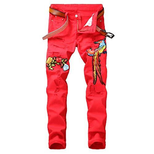 Beastle Jeans para Hombres Estilo Europeo y Americano Nueva Tendencia de Moda Pantalones Vaqueros Rojos Bordados Ajustados Rasgados 38