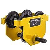 Mophorn Carrito para Vigas Capacidad 1100lbs 0.5T Amarillo Carro Polipasto Carrito de Empuje para Vigas Carro Manual para Polipasto Push Carro de Haz Manual Carro de Empuje Inoxidable