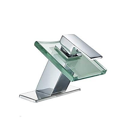 Greenspring Bathroom Faucet Chrome Waterfall Modern Deck Mount One Handle Lavatory Glass Spout Single Hole Plumbing Fixtures Unique Designer