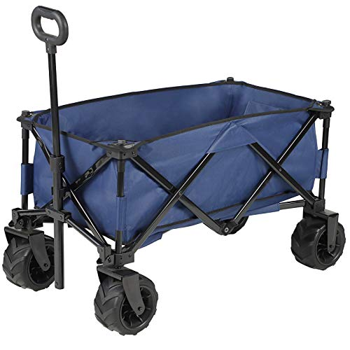 Multipurpose Large Capacity Collapsible Wagon CartPortable Canvas Adjustable Handle Big Wheels Utility Folding Wagon Beach Buggy Cart for Garden Outdoor Camping Navy