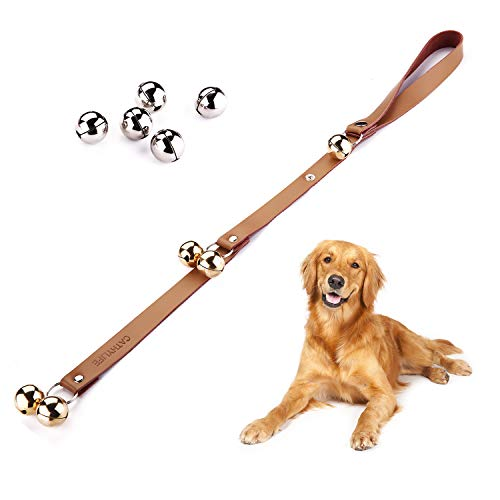 CATHYLIFE Dog Doorbells for Potty Training, Dog Bell with Doggie Doorbell, Contains Golden and Silver Bells, Adjustable Door Bell, Brown Leather Strap