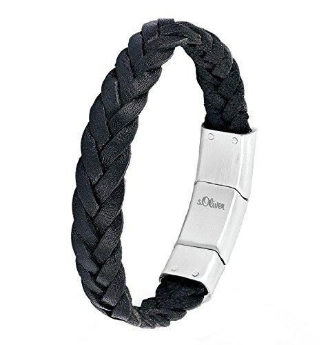 S.Oliver Herren Armband Edelstahl matt Leder geflochten 19,5+1,5 cm schwarz