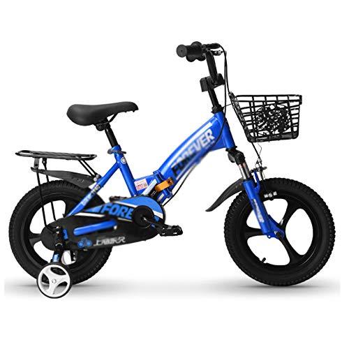Kids Bikes Chunlan Portable Niños Bicicleta Chico Chica Bicicleta Plegable Neumáticos Antideslizantes Amortiguación Asiento Regulable 14/16/18 Pulgadas(Color:Azul,Size:14 Inches)