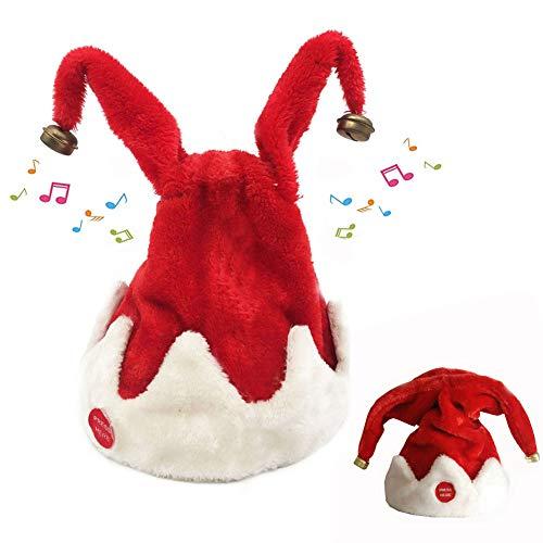 MUVBUR Christmas Singing Dancing Santa Hat Red Santa Cap with Plush Trim