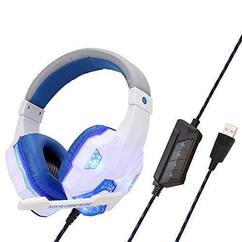 LIMTT Professionele LED-headset voor Computerspellen PS4 Lichtgevende Headset met Microfoon voor tTblette voor Laptop, Smartphone Mac, PC Wit USB