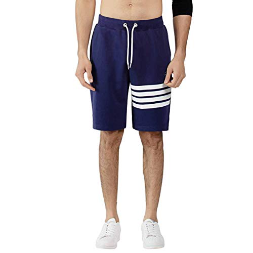 Hombre Pantalones Cortos Deportivos Estampado de algodón Pantalones Cortos Pantalones Cortos de Gimnasia con Bolsillos Pantalón de fútbol Colores Gris Negro Azul Marino (S, Armada)