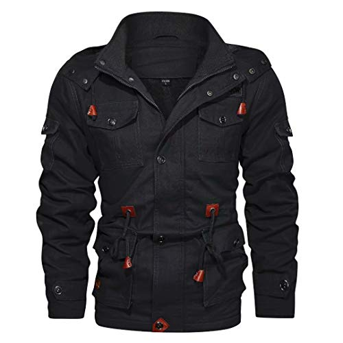 Winter Jacket for Men Puff Thicken Cotton Cargo Jacket with Hood Military Travel Tactical Coat Black