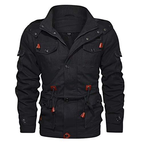 Mens Jacket with Detachable Hood Winter Warm Parka Cargo Jacket Anorak Military Thicken Coat Black