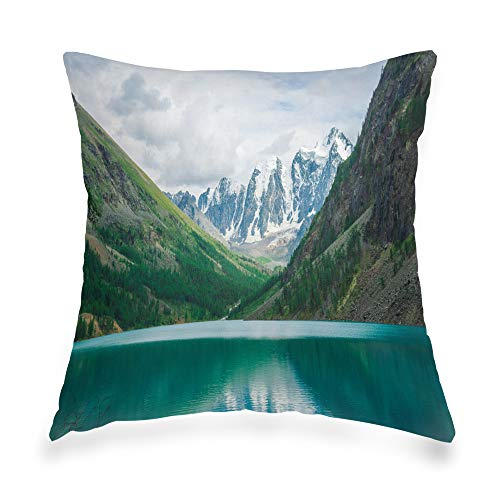 Decorative Throw Pillow Cover Geometric Invisible Zipper 16x16 Inch Water Mountain Lake Snowy Mountains Creek Glacier White Snow Ridge Atmospheric Landscape Zipper Pillow Cover for Living Room