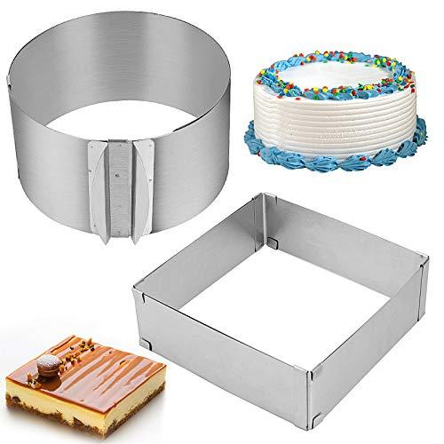 KEILEOHO 2 PCS Cake Mold Rings, Retractable Stainless Steel Adjustable Mousse Cake Ring, Milk Bar Mold Cake DIY Baking Mould Tool, 6-12 Inch Round Cake Mold Ring and 6-11 Inch Square Cake Mold Ring