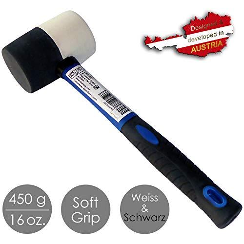 WeLiQu® Gummihammer Schwarz und Weiß, 450 g, Fiberglas, Soft Grip, dämpfend