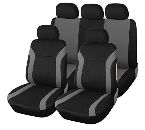 Upgrade4cars Autositzbezüge Set Grau Schwarz | Auto-Sitzschoner Universal | Auto-Zubehör Innenraum