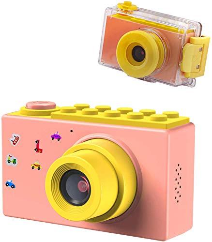 BlueFire 子供用カメラ キッズカメラ 防水? 録画機能デジタルカメラ 10メートル防水機能付き フルHD 1080P 800万画素 2インチスクリーン 4倍ズーム トイカメラ 人気 日本語適用 年齢制限6+(ピンク)