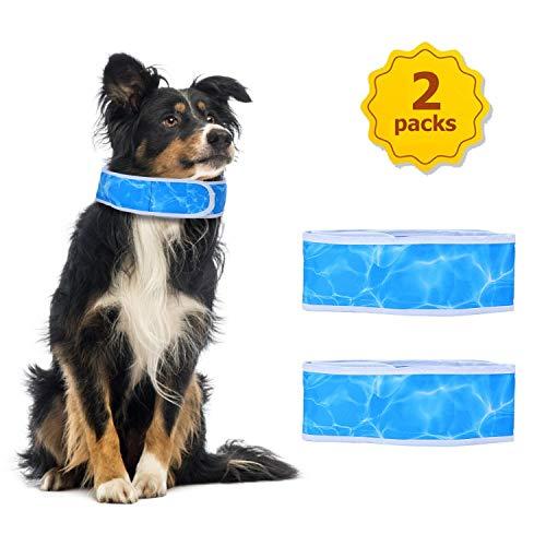 Nobleza Kühlendes Hunde-Halsband 2 Stücke, Kühlendes Hunde Halsband Kühlhalsband für Hunde,verstellbares Hundekühlhalsband Blau,Größe L Geeignet für Hals von 50 cm bis 65 cm