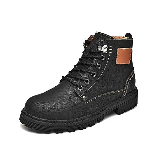Fangaichen Hombres Moda Tobillo Trabajo Boot Casual Simple y Cómodo Fleece Fleece Privilegiado Retro High Top BootConVetional es Opcional (Color : Black, Size : 43 EU)
