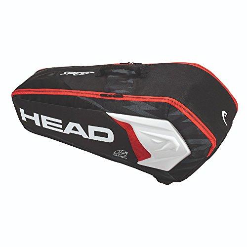 HEAD Tennistasche Djokovic 6R Tennistasche Combi, schwarz/weiß/rot