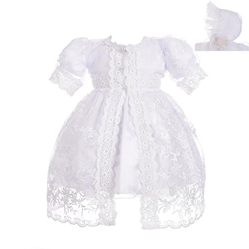 Lito Angels - Vestidos de bautizo para bebé niñas, Ropa blanco con capa y bonete capó para ceremonia de bautismo, 3-6 meses