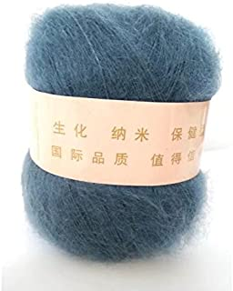Celine lin One Skein Soft&Warm Angola Mohair Cashmere Wool Knitting Yarn 50g,Blue ink