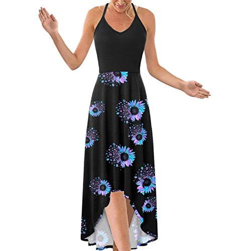 OutTop Strappy Sleeveless Maxi Dress for Women's V Neck Criss Cross Backless Cami Dresses Asymmetrical Beach Sundress (#03-Black, M)