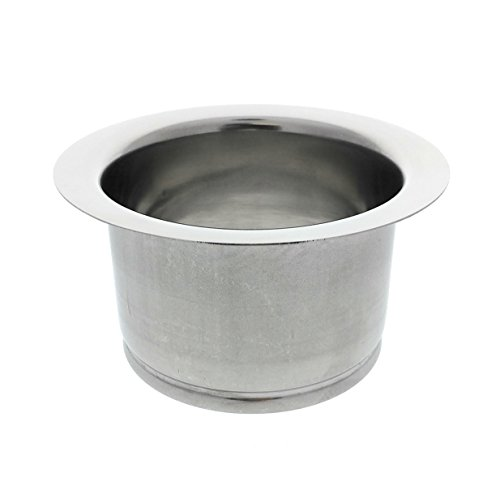 Essential Values Kitchen Extended Sink Flange, Deep Polished Stainless Steel Flange for Insinkerator Garbage Disposals and Other Disposers That Use A 3 Bolt Mount and A Thicker Sink