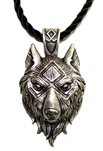 Collar Cabeza de Lobo–Rune Odal oþalan o Othalan–Bijou Viking Animal Salvaje Totem del Coraje de la Fuerza y odinisme–símbolo Tribal Rune Celta Caza–Regalo Original Hombre Mujer Unisex