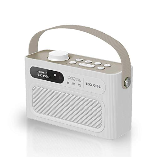 Roxel RDR-40 Stereo DAB/DAB+ Digital and FM Radio Portable Bluetooth Speaker with Dual Alarm Clock Function, USB & Micro SD MP3 Playback Function (White)