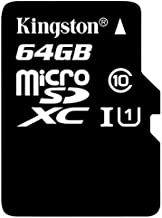 Kingston Digital 64GB microSDXC Class 10 UHS-I 45MB/s Read Card with SD Adapter (SDC10G2/64GB)