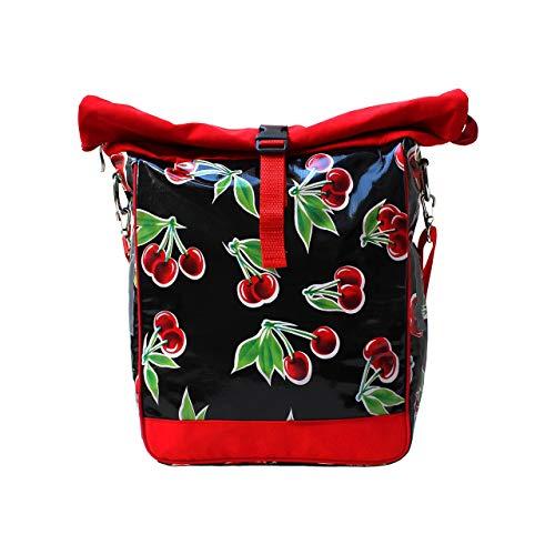 IKURI einseitige Fahrradtasche für Gepäckträger Satteltasche Einzeltasche Packtasche, abnehmbar, mit Tragegurt zum Umhängen, aus Wachstuch, Damen, wasserdicht, Modell Cerezas schwarz